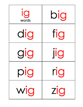 Short I Word Family Practice Cards