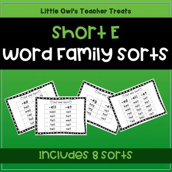 Short Vowel Word Family Sorts- I