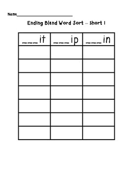 Short I Word Sort (it, ip, in)