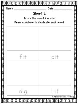 Short I Word Work Activities