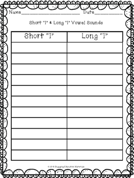 "Short ""I"" and Long ""I"" Vowel Sorting Cards"