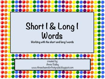 Short I and Long I Word Study Sort and Activities