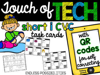Short I cvc Task Cards with QR Codes for Self-Correcting