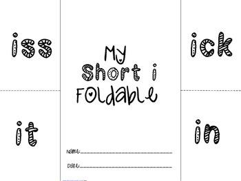 Phonics: Short I foldable - iss,in,it,ick