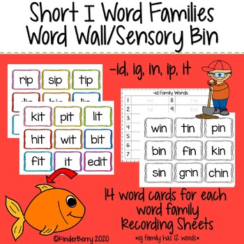 Short I (id, ig, in, ip, it) Family Word Work / Sensory Bin