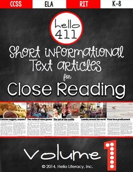 Short Text for Teaching Text Structure {Vol.1} 21st Century Informational Text