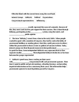 Short Interest Groups and Lobbyist Quiz