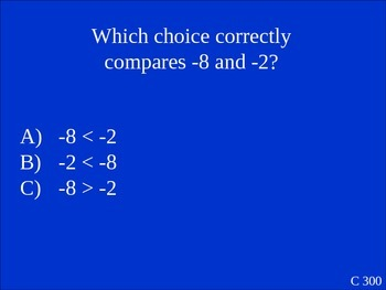 Short Jeopardy Game on Integers