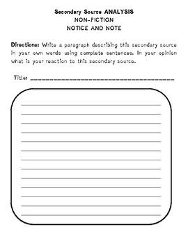 Short Literature Analysis Worksheets
