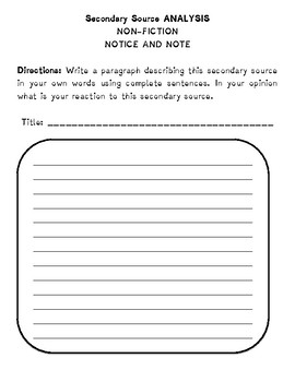 Short Literature Analysis Worksheets