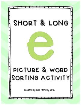 Short & Long E Picture & Word Sort