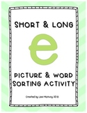 Short & Long E Picture & Word Sort