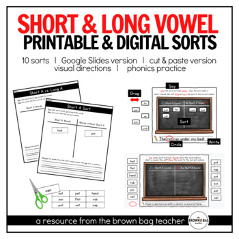 Short & Long Vowel Sorts: Google Slides & Printable Versions