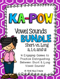 Short & Long Vowel Sounds (VCe) Kapow BUNDLE - 4 Literacy Centers / Games