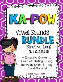 Short & Long Vowel Sounds (VCe) Kapow BUNDLE - 4 Literacy Centers / Games