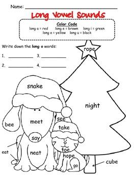 Short & Long Vowel Sounds Winter Printables