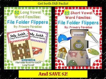 Word Family Short & Long Vowel: File Folder Flippers {Bundle Pack}