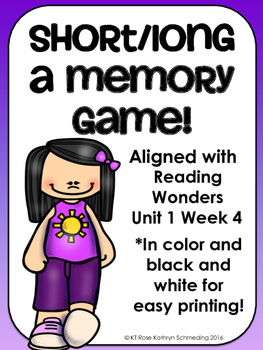 Short a/Long a_e Memory Game---Aligned with Reading Wonders Unit 1 Week 4
