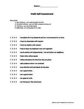 Short Math Self-Assessment