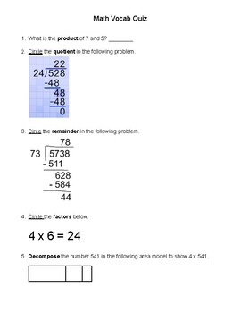 Short Math Vocab Quizzes