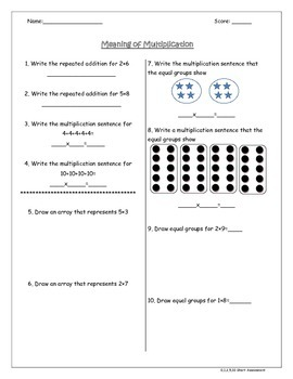 Short Multiplication Quizzes/Practice Separated by Anchor Facts 3.OA.1