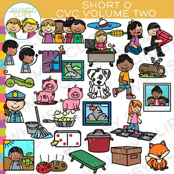CVC Clip Art: Short O Vowel Clip Art  {Volume Two}