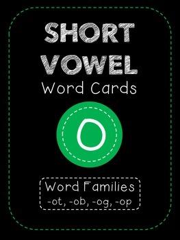Short O CVC Word Family Cards