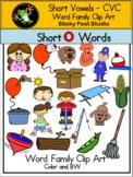 Short O CVC Word Family Clip Art
