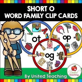 Short O CVC Word Family Clip Cards