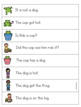 Short O CVC Word Sentence Fluency Game