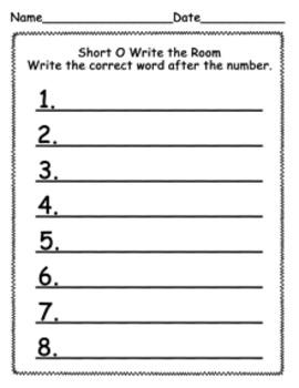 Short O CVC Words Write the Room Activity