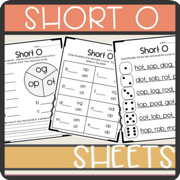 Short O CVC words: Worksheets- Spinner, Roll and Read, Practice Sheet