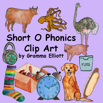 Short O Phonics Realistic Clip Art in Color and BW