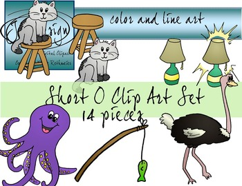 Short O Clip Art Set - Color and Line Art 14 pc set