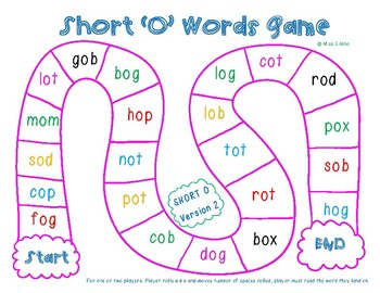 Short O Game Boards (CVC Words)