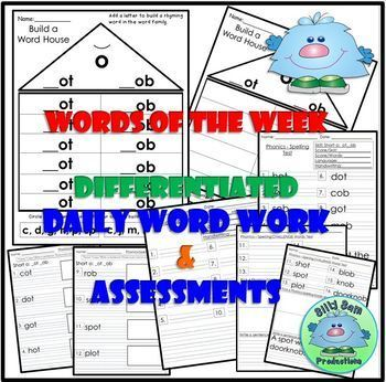 Short O OT and OB Spelling Phonics INTERACTIVE NOTEBOOK WORD WORK ASSESSMENTS