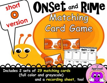 Short O Onset and Rime Matching Game