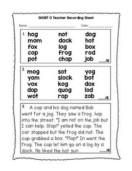 Short O - Phonics Fluency Assessment