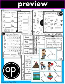 Short O Phonics Practice Printables for Word Families (ot, op, og)