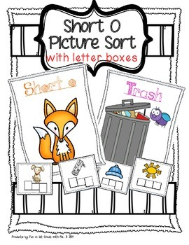 Short O Picture Sort with Spelling Boxes