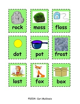 Short O Memory Rhyming Phonics Reading Concentration Picture Flashcards