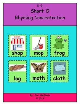 Short O Memory Rhyming Phonics Reading Concentration Pictu