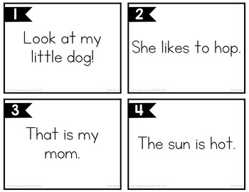 Short O Simple Sentences Task Cards