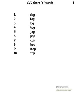 Short O Vowel Blending Packet for Elementary