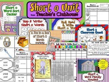 Short O Vowel Unit from Teacher's Clubhouse
