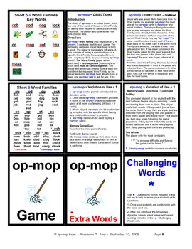 Short O - WORD FAMILY - Card Game