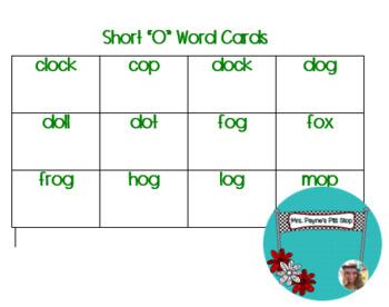 Short O Word Cards