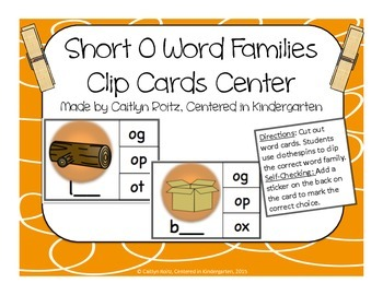 Short O Word Families Clip Cards Center