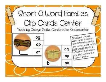 Short O Word Families Clip Cards Center