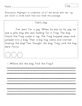 Short O Word Families Passages for Fluency and Comprehension